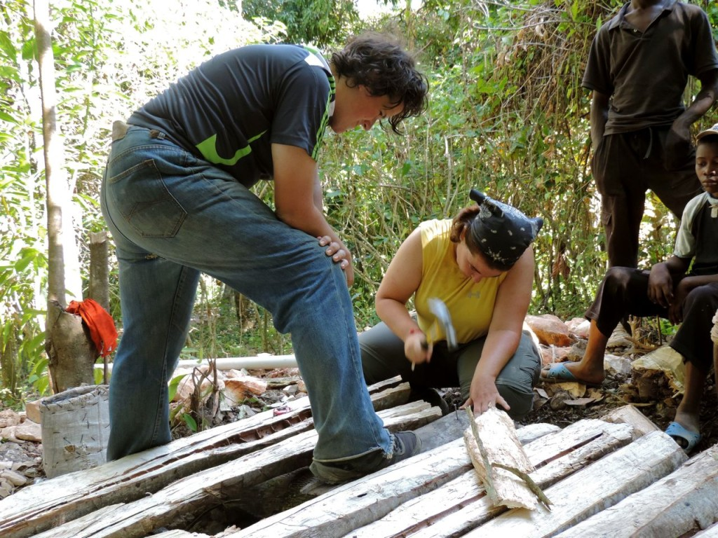 Nail all the wood together. Note that in Haiti you will be using ungalvanized nails that really don't like to cooperate.