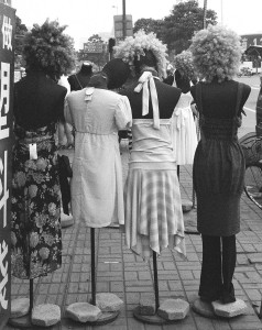 Wigs on mannequins in Chiana.